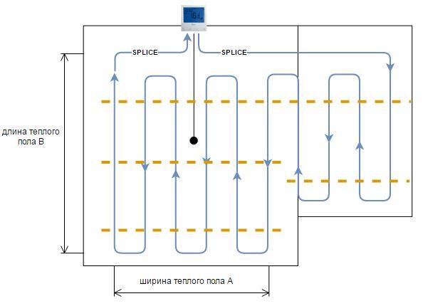 общая схема монтажа электрического теплого пола